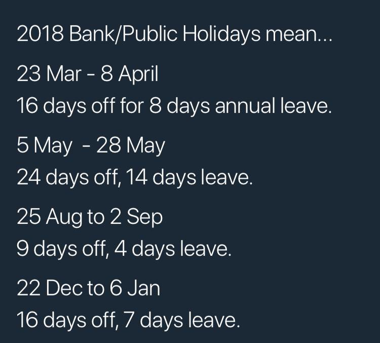 Bank holidays 2018